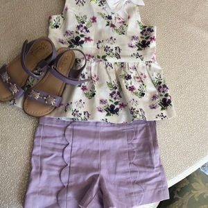 Adorable Janie and jack floral shorts top 4 shoes